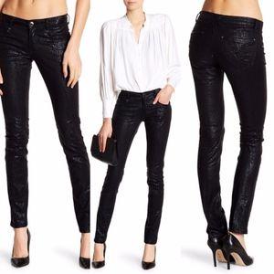 Vertigo Foil Snake Print Low Rise Skinny Jeans 28